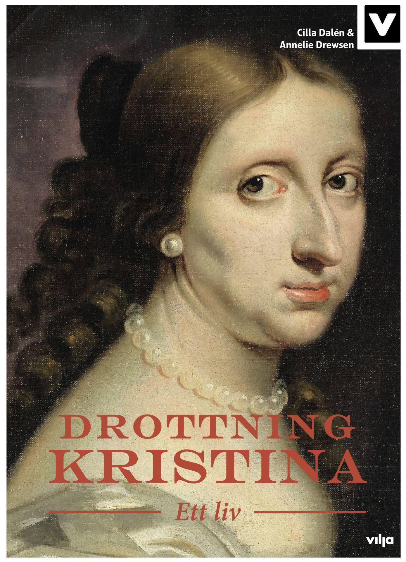 Målning av Drottning Kristina på bokens pärm.