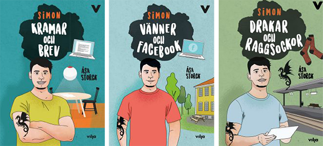 Tre bokpärmar med Simon.