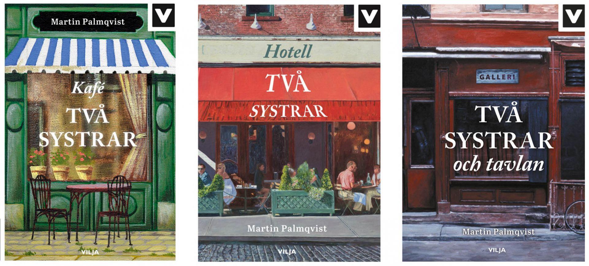 Tre olika bokpärmar med ett kafé, ett hotell och ett tavelgalleri.