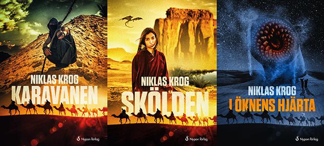 Tre bokpärmar med bilder på en kamelkaravan, pojken Traz, flickan Neva och en slukare.
